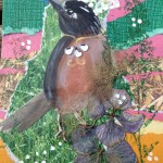 Greeting Card Collage Robin with Lace Tiara