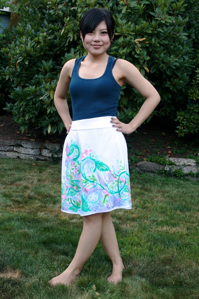 Brilliant floral hand painted roll waist skirt