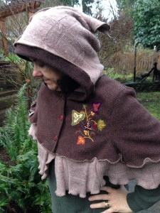 Hooded Cape, Brown wool and Embroidery