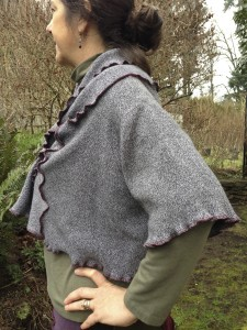 Upcycled Cotton Shrug, Tweedy Grey