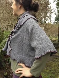 Upcycled Cotton Shrug, Tweedy Grey