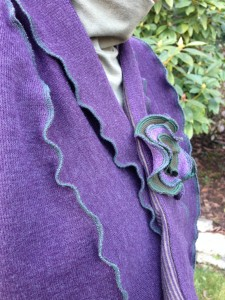 Plum Shrug, upcycled cotton