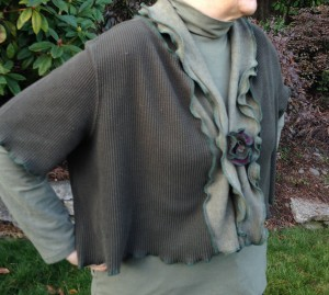 Upcycled Cotton Shrug, Shades of Green