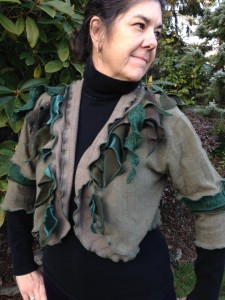 Upcycled Cotton Shrug with a Forest Theme