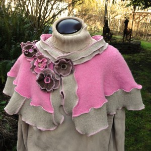 Upcycled Pink and Brown Wool Shrug
