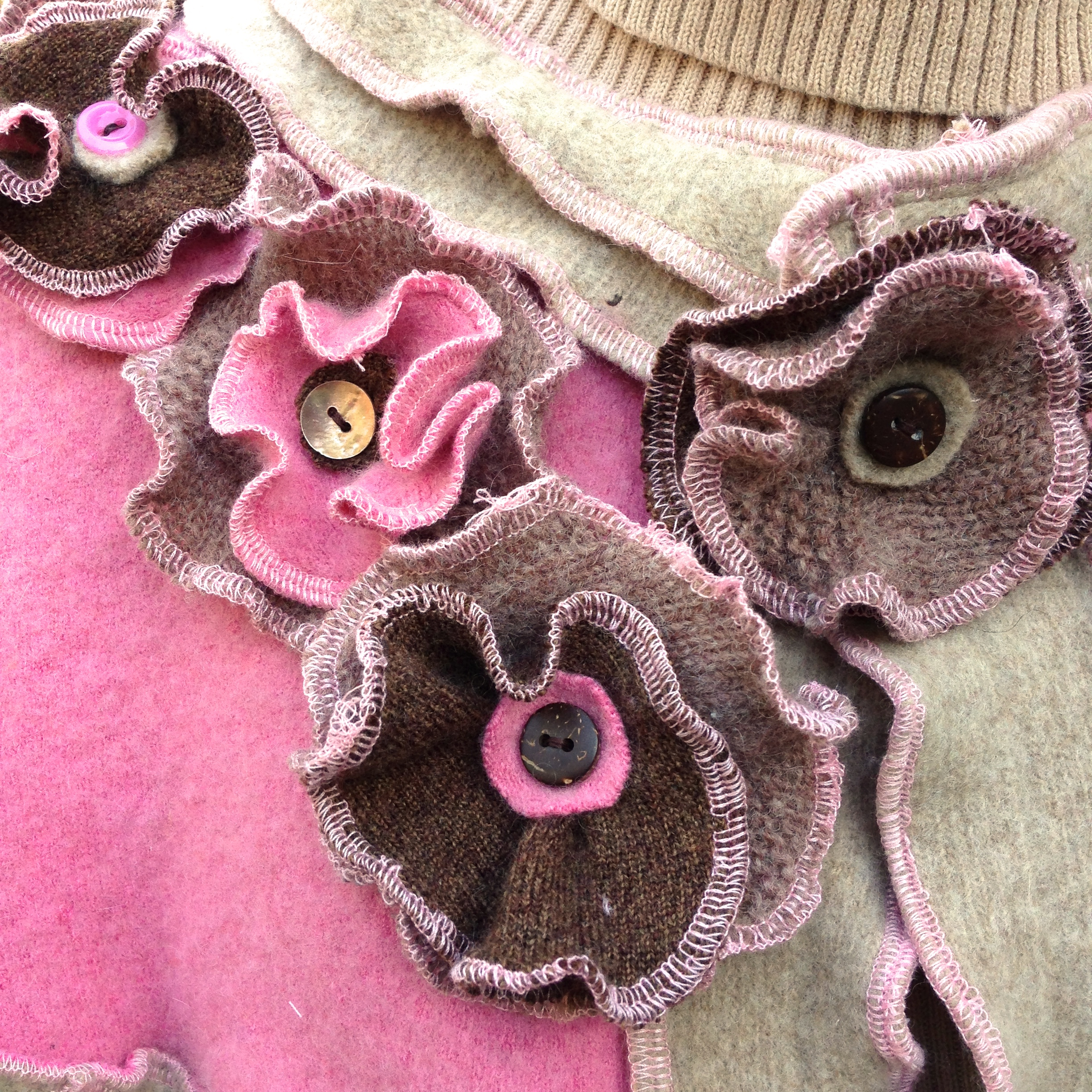 Upcycled Pink And Brown Wool Shrug With Cascading Flowers Dana