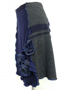 upcycled skirt in navy and grey