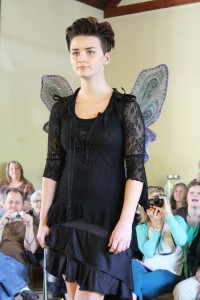 fairy wings and layered black lace dress